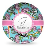 Summer Flowers Microwave Safe Plastic Plate - Composite Polymer (Personalized)