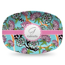 Summer Flowers Plastic Platter - Microwave & Oven Safe Composite Polymer (Personalized)