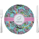 "Summer Flowers Glass Lunch / Dinner Plates 10"" - Single or Set (Personalized)"