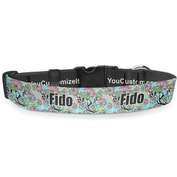 "Summer Flowers Deluxe Dog Collar - Large (13"" to 21"") (Personalized)"