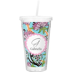 Summer Flowers Double Wall Tumbler with Straw (Personalized)
