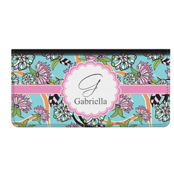 Summer Flowers Genuine Leather Checkbook Cover (Personalized)