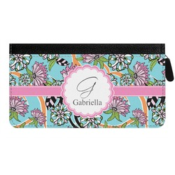 Summer Flowers Genuine Leather Ladies Zippered Wallet (Personalized)