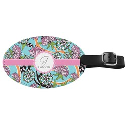Summer Flowers Genuine Leather Oval Luggage Tag (Personalized)