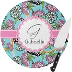 Summer Flowers Round Glass Cutting Board (Personalized)