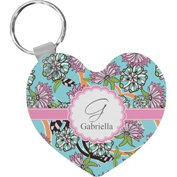 Summer Flowers Heart Keychain (Personalized)