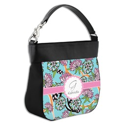 Summer Flowers Hobo Purse w/ Genuine Leather Trim (Personalized)