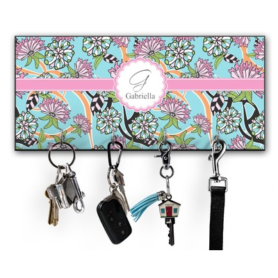 Summer Flowers Key Hanger w/ 4 Hooks w/ Name and Initial