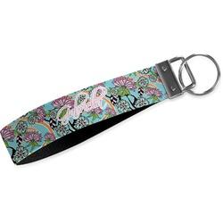 Summer Flowers Wristlet Webbing Keychain Fob (Personalized)