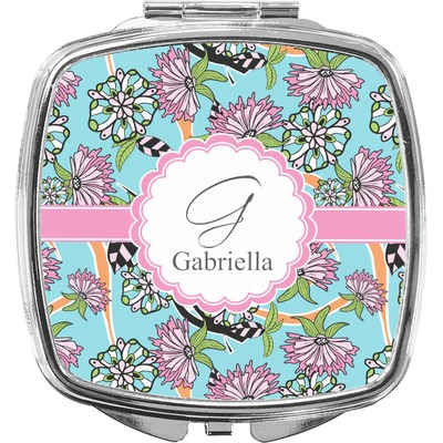 Summer Flowers Compact Makeup Mirror (Personalized)