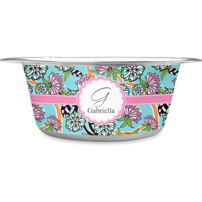 Summer Flowers Stainless Steel Dog Bowl (Personalized)