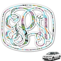 Summer Flowers Monogram Car Decal (Personalized)