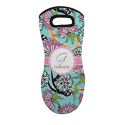 Summer Flowers Neoprene Oven Mitt - Single w/ Name and Initial