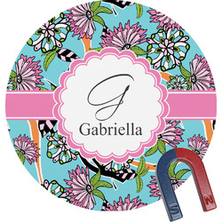Summer Flowers Round Magnet (Personalized)