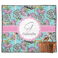 Summer Flowers Outdoor Picnic Blanket (Personalized)