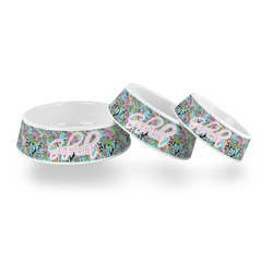 Summer Flowers Plastic Dog Bowl (Personalized)