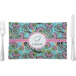 Summer Flowers Glass Rectangular Lunch / Dinner Plate - Single or Set (Personalized)