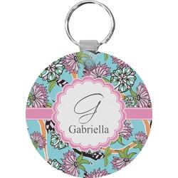 Summer Flowers Round Keychain (Personalized)