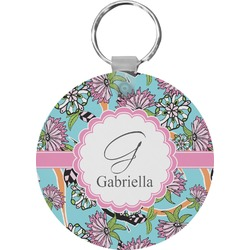 Summer Flowers Round Keychain (Personalized)