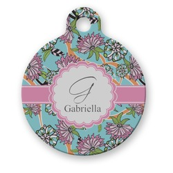 Summer Flowers Round Pet Tag (Personalized)
