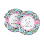 Summer Flowers Sandstone Car Coasters (Personalized)