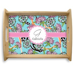 Summer Flowers Natural Wooden Tray - Large (Personalized)