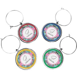 Summer Flowers Wine Charms (Set of 4) (Personalized)