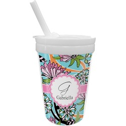 Summer Flowers Sippy Cup with Straw (Personalized)