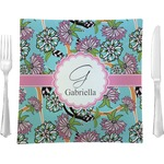 "Summer Flowers Glass Square Lunch / Dinner Plate 9.5"" - Single or Set of 4 (Personalized)"