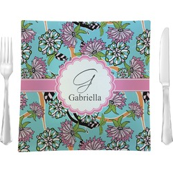 """Summer Flowers 9.5"""" Glass Square Lunch / Dinner Plate- Single or Set of 4 (Personalized)"""