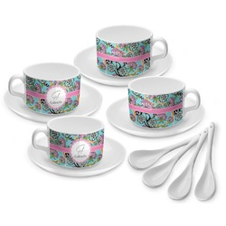 Summer Flowers Tea Cup - Set of 4 (Personalized)