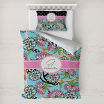 Summer Flowers Toddler Bedding w/ Name and Initial