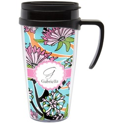 Summer Flowers Travel Mug with Handle (Personalized)