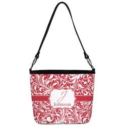 Swirl Bucket Bag w/ Genuine Leather Trim (Personalized)