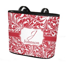 Swirl Bucket Tote w/ Genuine Leather Trim (Personalized)