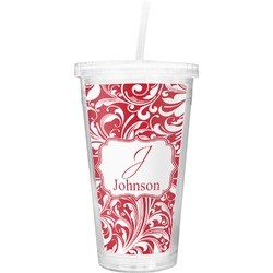Swirl Double Wall Tumbler with Straw (Personalized)
