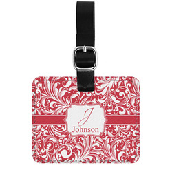 Swirl Genuine Leather Luggage Tag w/ Name and Initial