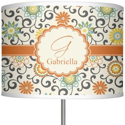 """Swirls & Floral 13"""" Drum Lamp Shade (Personalized)"""