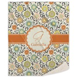 Swirls & Floral Sherpa Throw Blanket (Personalized)