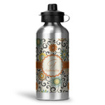 Swirls & Floral Water Bottle - Aluminum - 20 oz (Personalized)