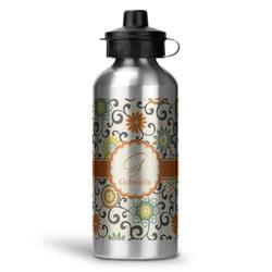 Swirls & Floral Water Bottle - Aluminum - 20 oz (Personalized)