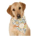 Swirls & Floral Dog Bandana Scarf w/ Name and Initial