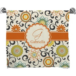 Swirls & Floral Full Print Bath Towel (Personalized)