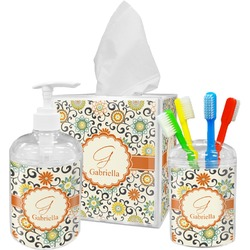 Swirls & Floral Acrylic Bathroom Accessories Set w/ Name and Initial