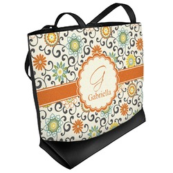 Swirls & Floral Beach Tote Bag (Personalized)