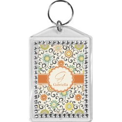 Swirls & Floral Bling Keychain (Personalized)