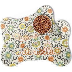Swirls & Floral Bone Shaped Dog Food Mat (Personalized)
