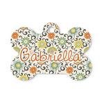 Swirls & Floral Bone Shaped Dog ID Tag (Personalized)