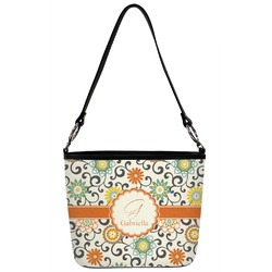 Swirls & Floral Bucket Bag w/ Genuine Leather Trim (Personalized)