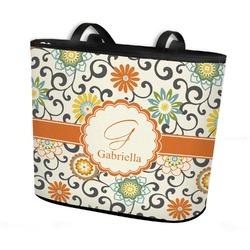 Swirls & Floral Bucket Tote w/ Genuine Leather Trim (Personalized)